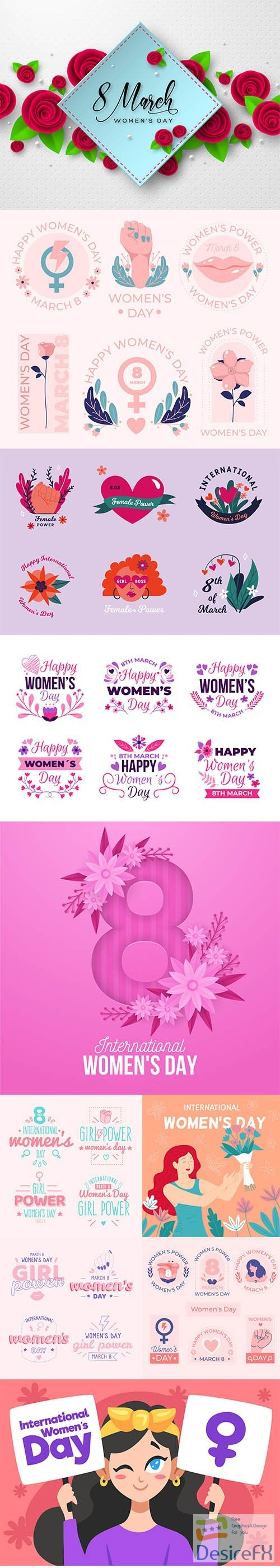Hand-drawn international womens day illustration and badge collection