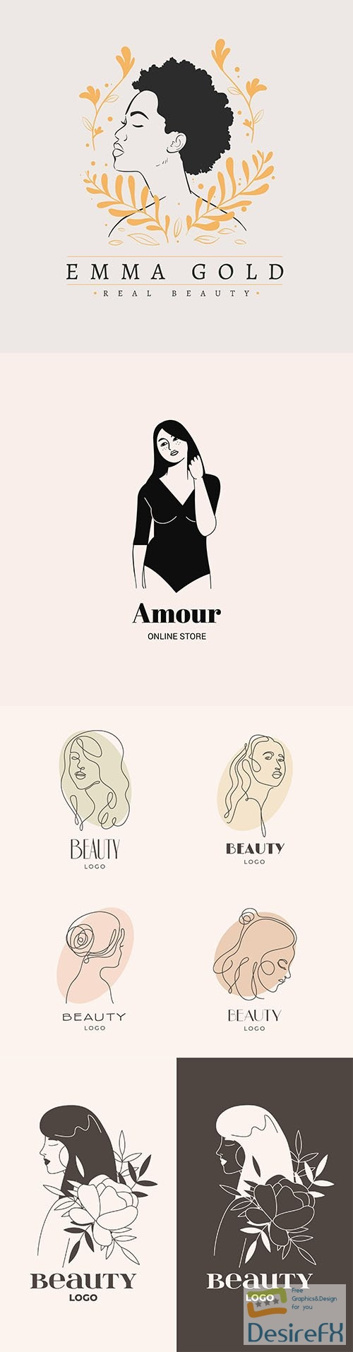Hand-drawn woman logo template