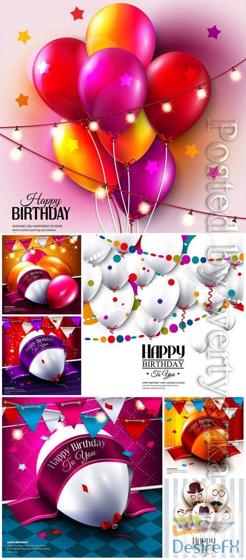 Happy birthday festive backgrounds in vector