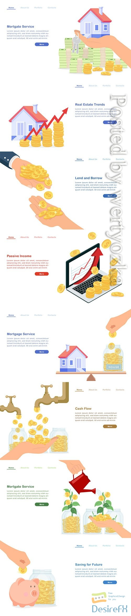 Landing page lend and borrow money concept golden coins
