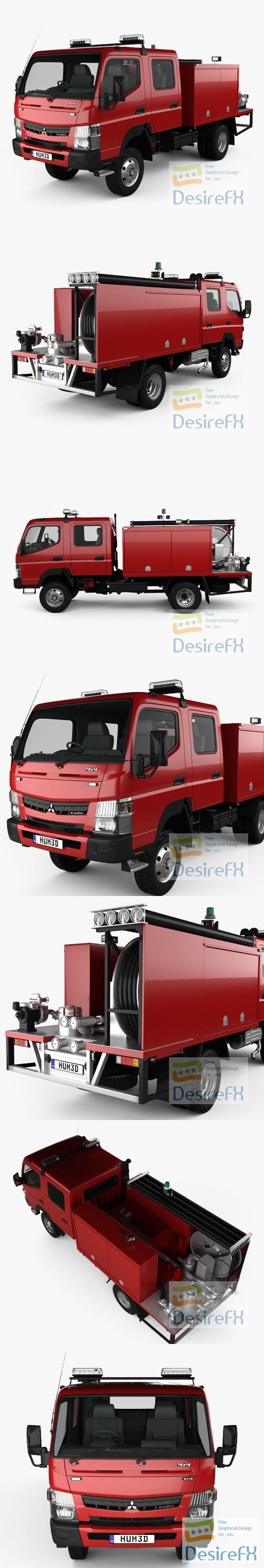 Mitsubishi Fuso Canter Wide Crew Cab Fire Truck 2016 3D Model