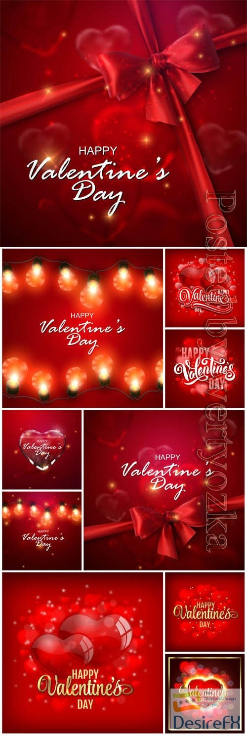 Red backgrounds with hearts and ribbons for valentine's day in vector