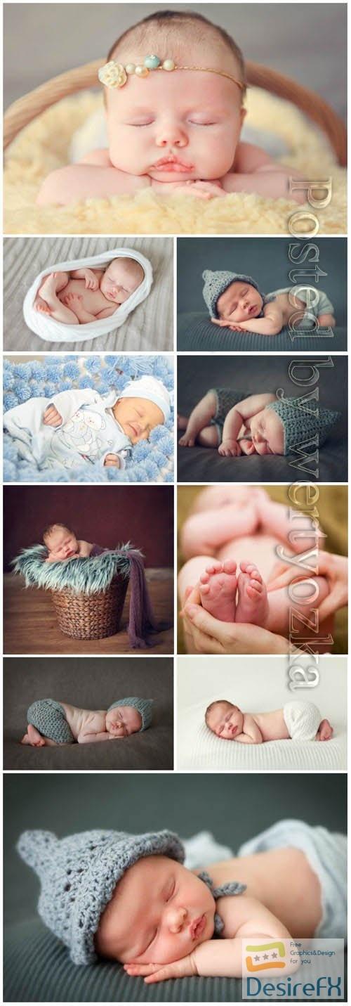 Sleeping newborn babies stock photo