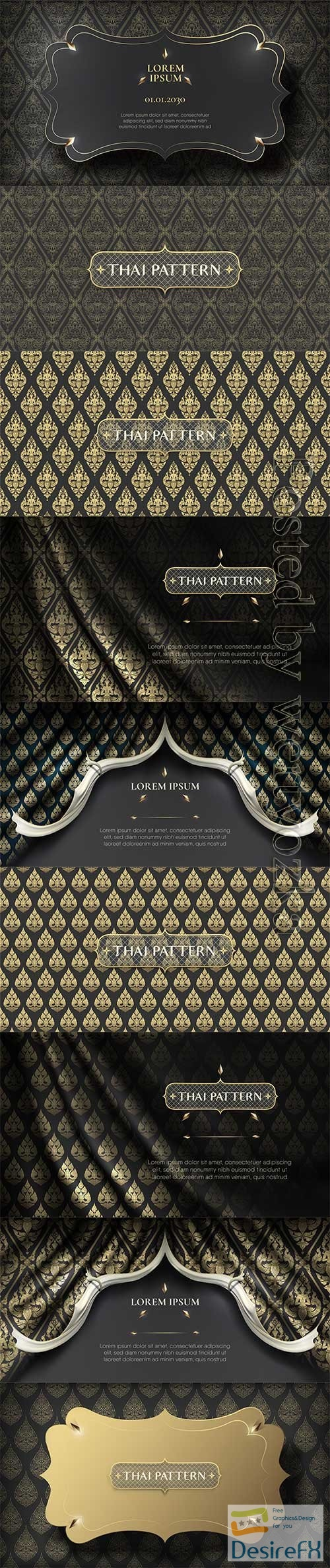 Traditional hand drawn black and gold thai flower pattern background