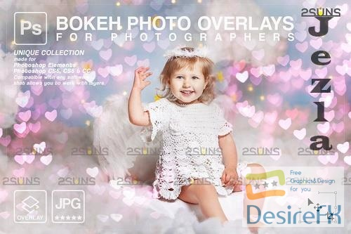 Valentine overlay & Photoshop overlay: Bokeh heart backdrop