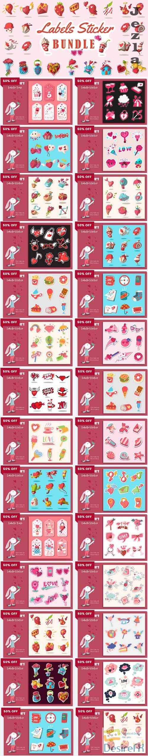 Valentine's Labels Sticker Bundle -  25 Premium Graphics