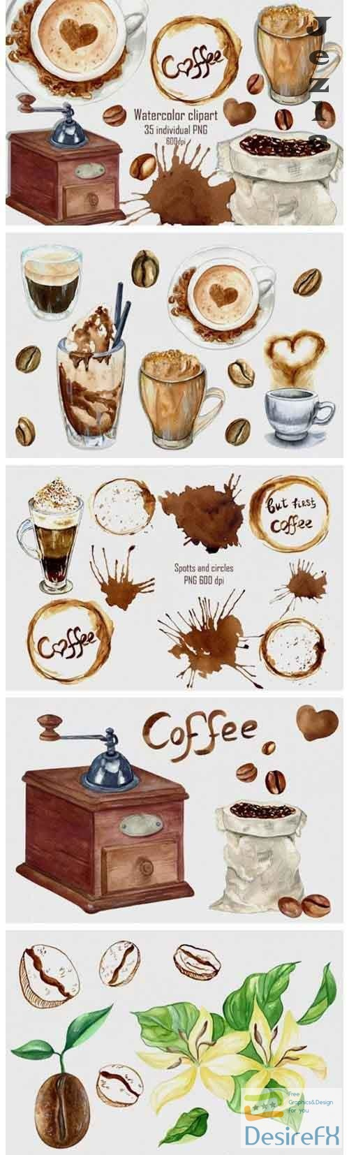 Watercolor coffee clipart, Coffee png, Coffee shop menu - 1205099