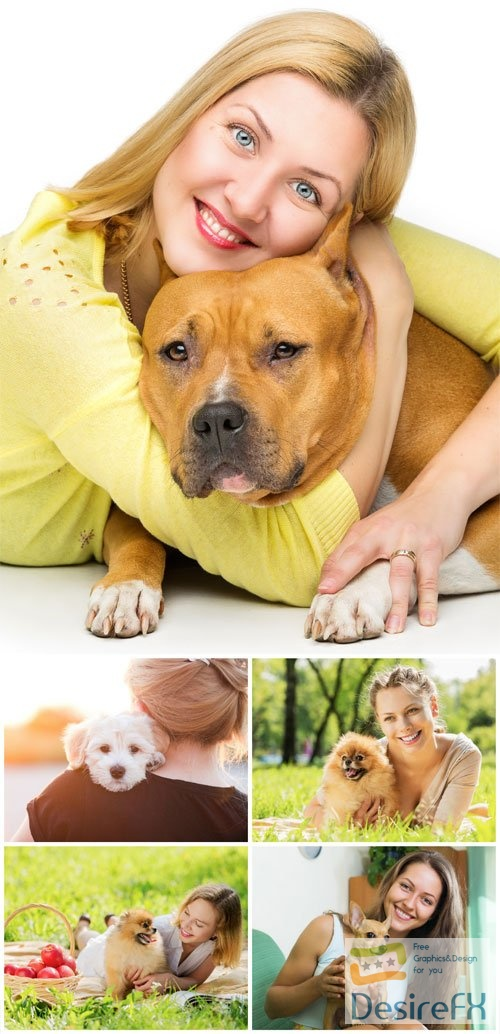 Young women with dogs stock photo