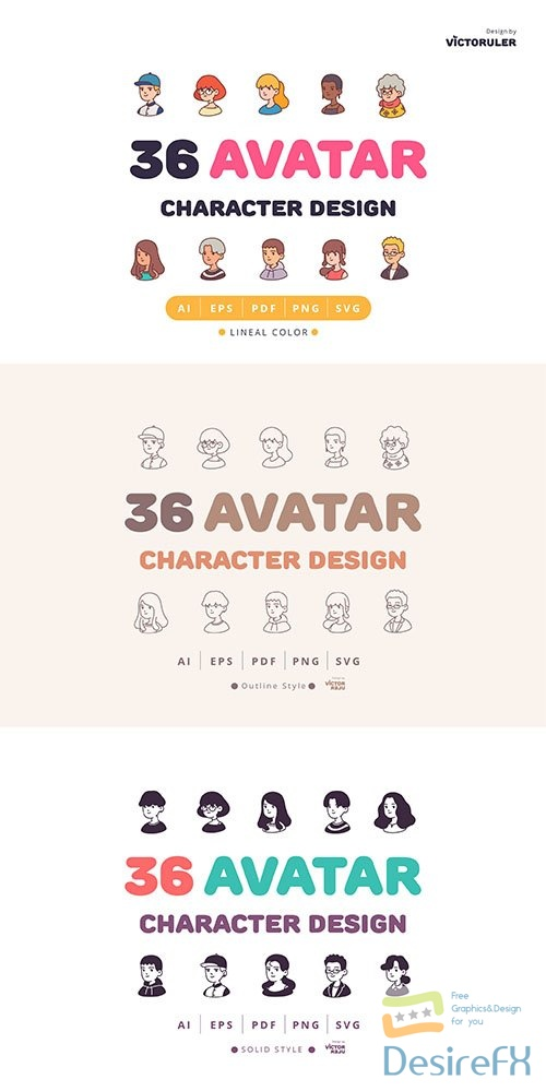 108 Avatar Character Design 3 Style Icons Pack