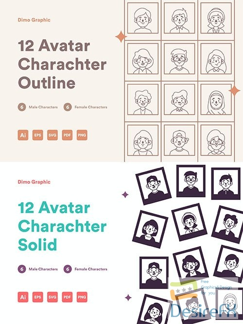 12 Avatar Icon Solid UZ and 12 avatar character outline