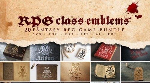 20 RPG Class Emblems Bundle SVG