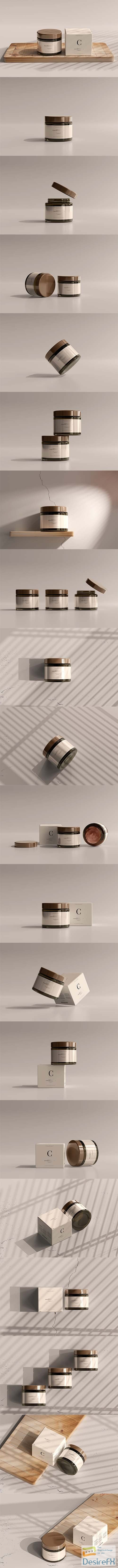 Amber glass cosmetic jar and box mockup