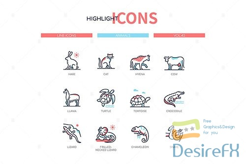 Animals collection - line design style icons set