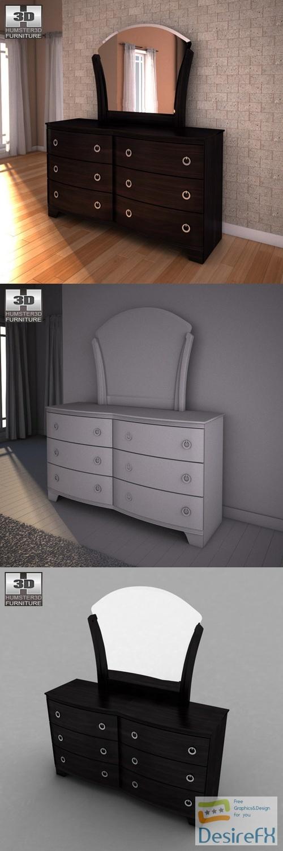 Ashley Pinella Dresser Mirror 3D Model