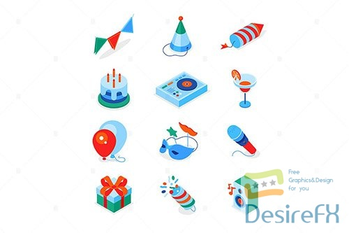 Birthday party - modern colorful isometric icons