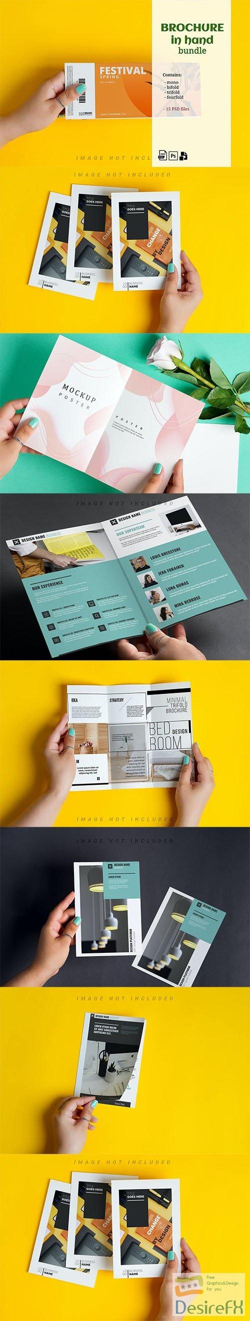 Brochure Mockup in Hand Kit PSD
