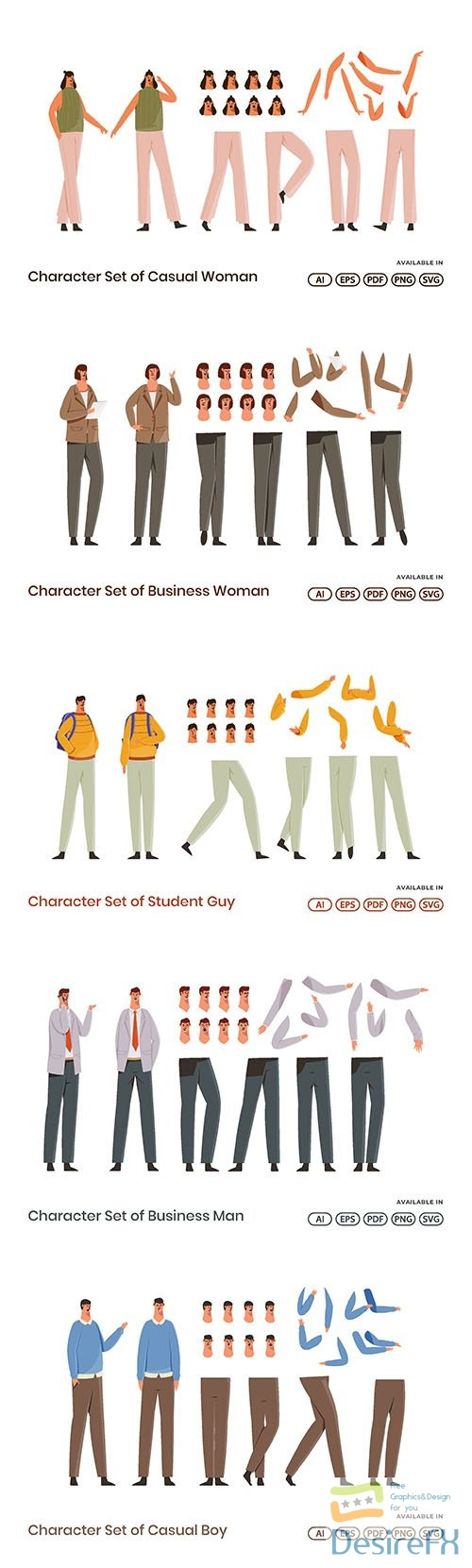 Character Set of Casual man and women