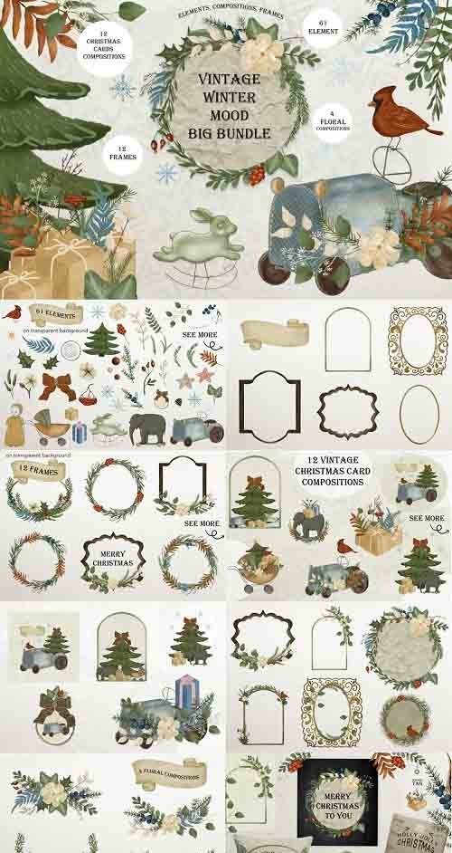 Christmas clipart / watercolor vintage illustrations - 1022301