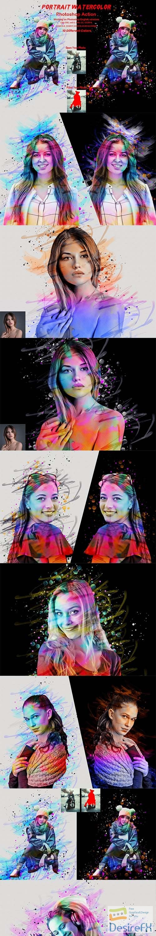 CreativeMarket - Portrait Watercolor Photoshop Action 5872719