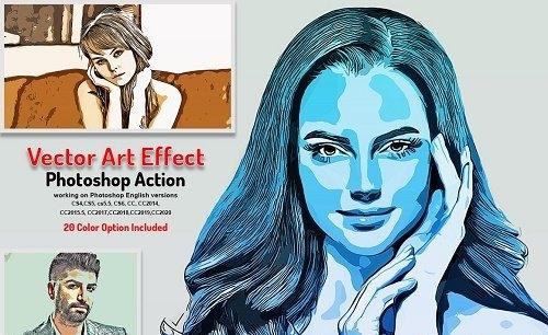 CreativeMarket - Vector Art Effect Photoshop Action 5766338