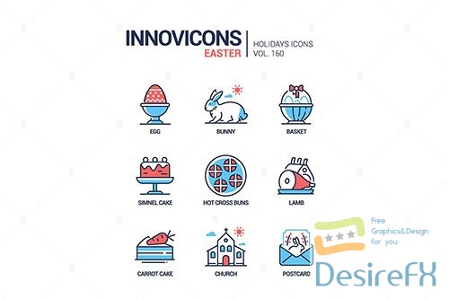 Easter - modern line design style icons set
