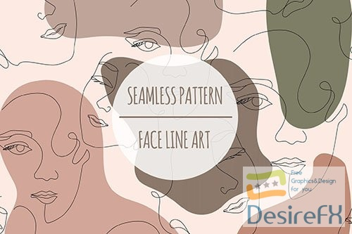 Face Line Art  Seamless Pattern