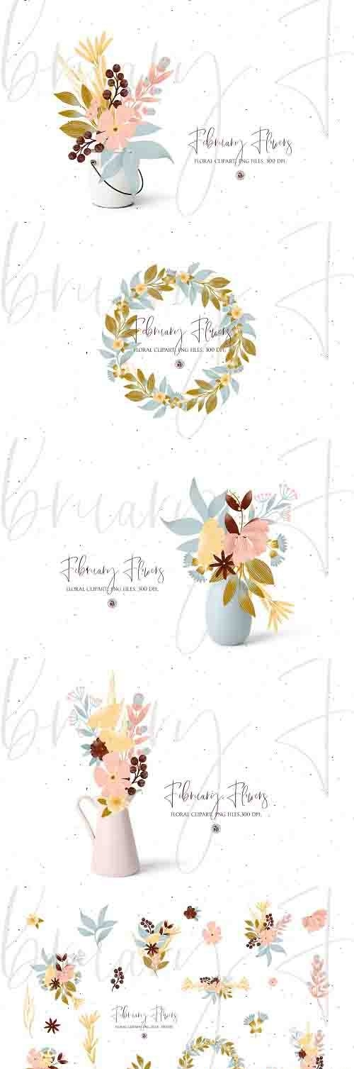 February Flowers floral clipart set - 5927923