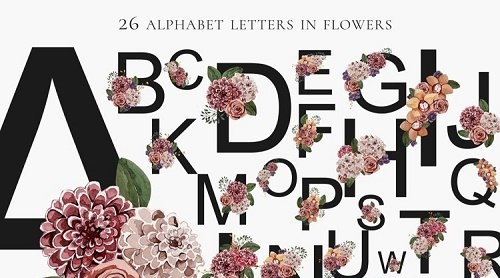 Festive alphabet in flowers png 26 letters - 1167911