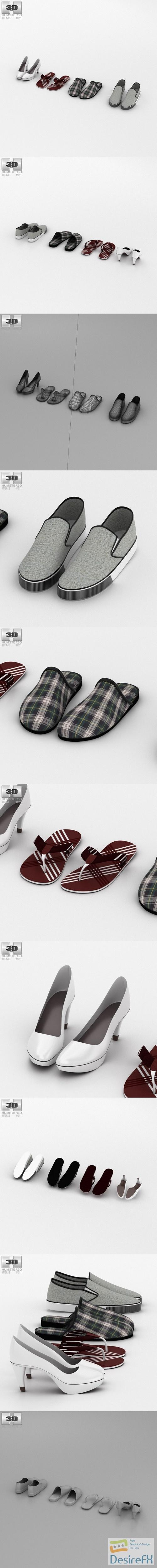 Footwear Summer Set 3D Model
