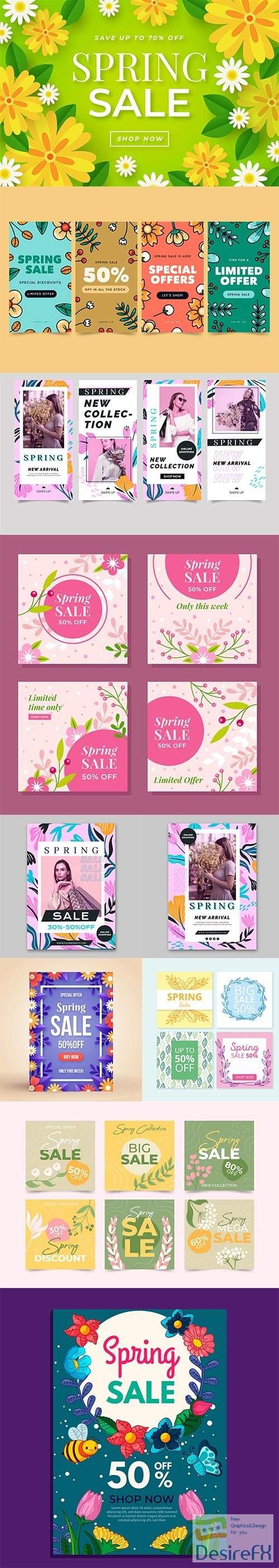 Hand-drawn Spring Sale Vector Collection vol 3