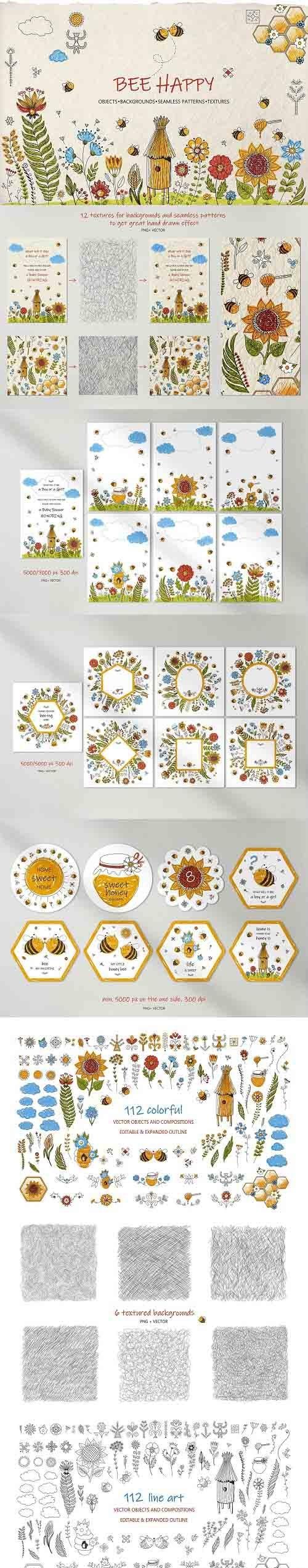 Honey Bee Vector Clipart Set - 5995202