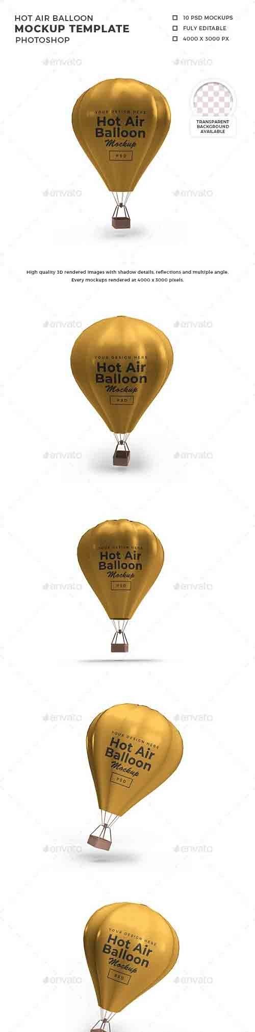 Hot Air Balloon 3D Mockup Template 30813866