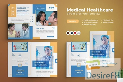 Medical Healthcare Bifold Brochure PSD