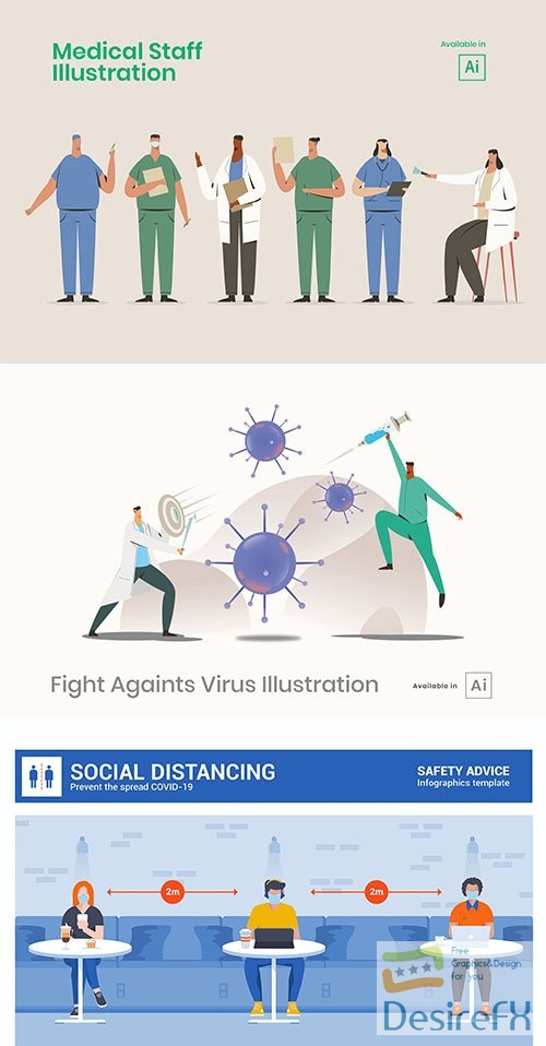 Medical staff and social distancing Vector illustrations set
