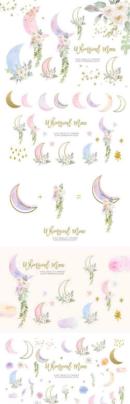 Moon Clouds Stars clipart, Greenery Gold Glitter Whimsical - 1243212