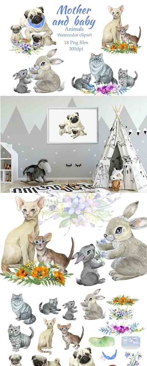Mother and baby animals, watercolor clipart, Mothers day - 1259334