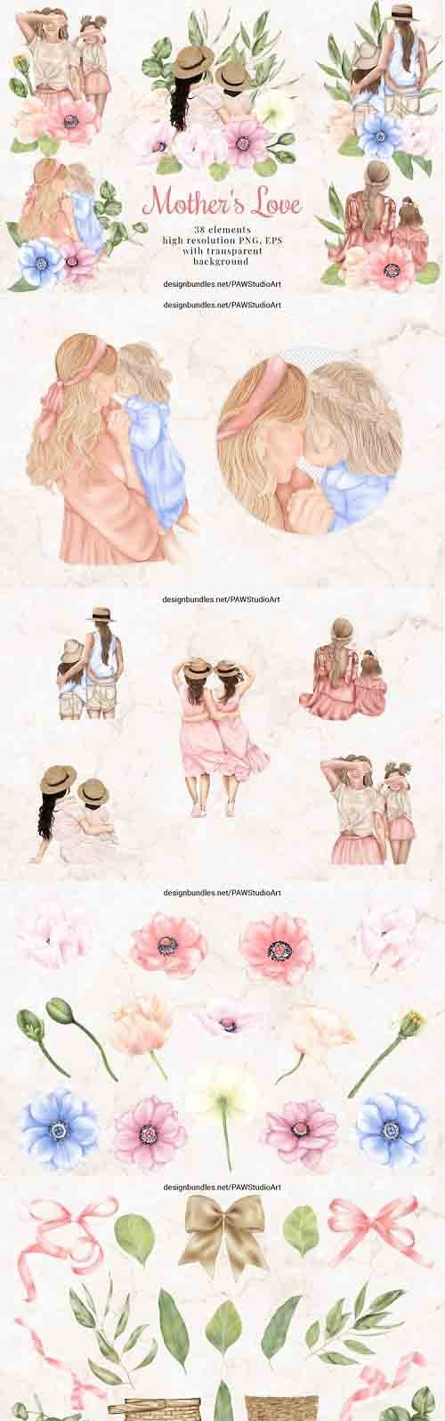 Mothers Day Clipart Mother Child Anemone Poppy Flowers Leavs - 1286934