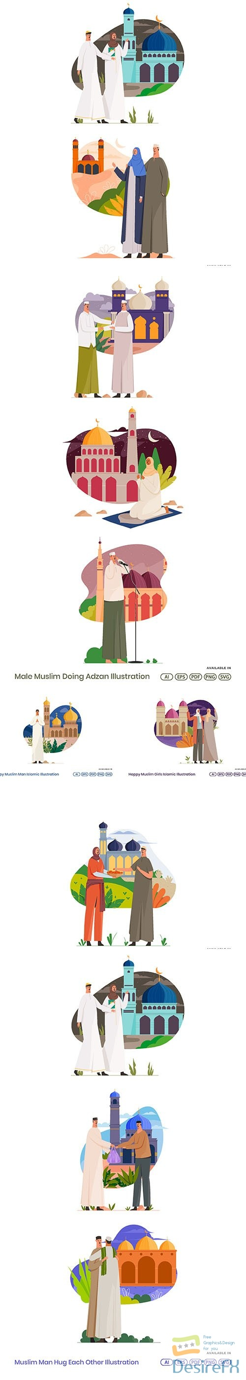 Muslim Man And Women Islamic Vector Illustration