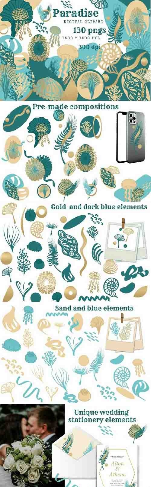 Paradise aesthetic shapes clipart, beach color shapes png - 1232488