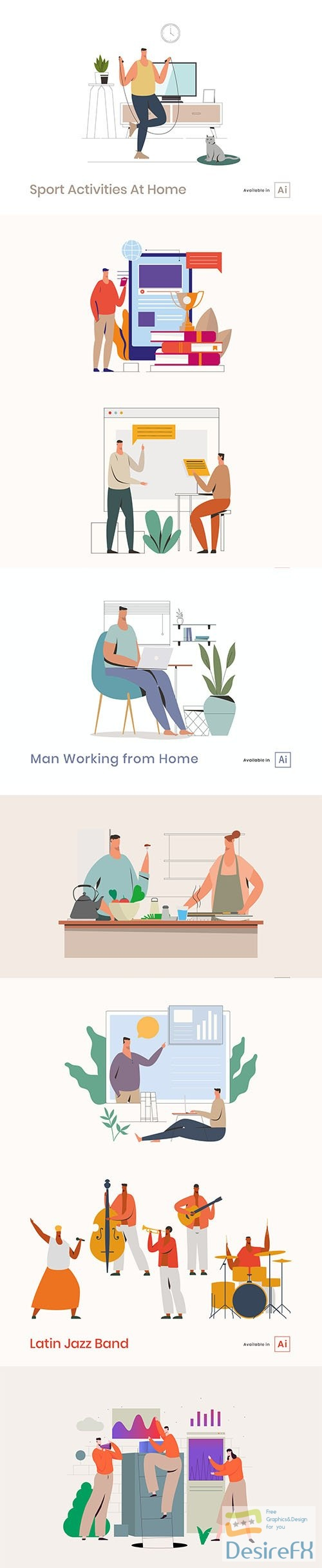 People Activities Vector Illustrations