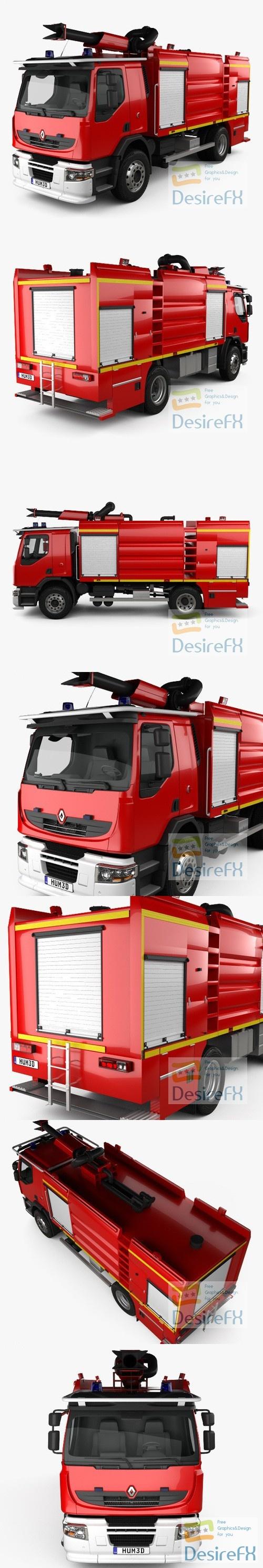Renault Premium Lander Fire Truck 2011 3D Model