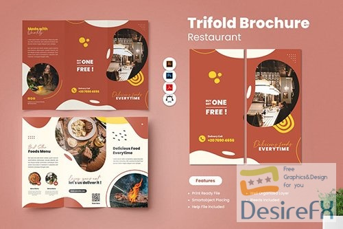 Restaurant Trifold Brochure PSD