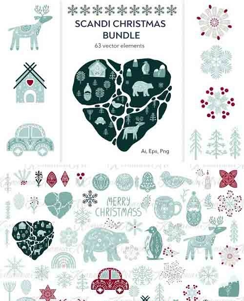 Scandinavian Christmas bundle vector, png clipart - 975250
