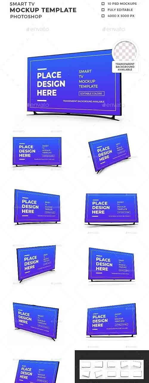 Smart TV 3D Mockup Template - 30873725