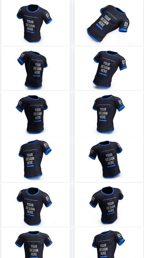 Sporty Tshirt Jersey 3D Mockup Isolated - 10 PSD Files