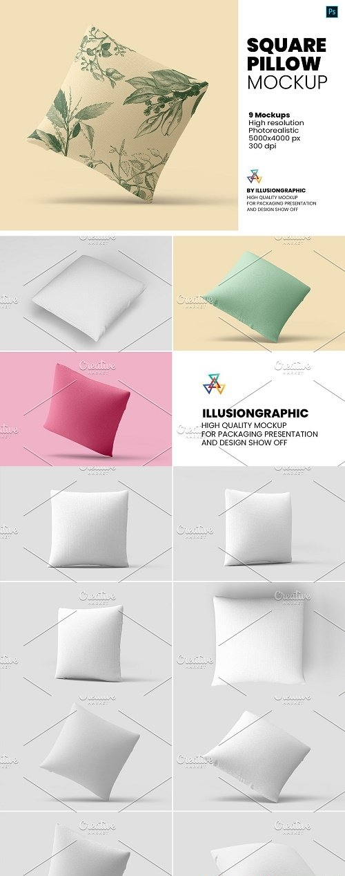 Square Pillow Mockup - 9 Views - 5935599