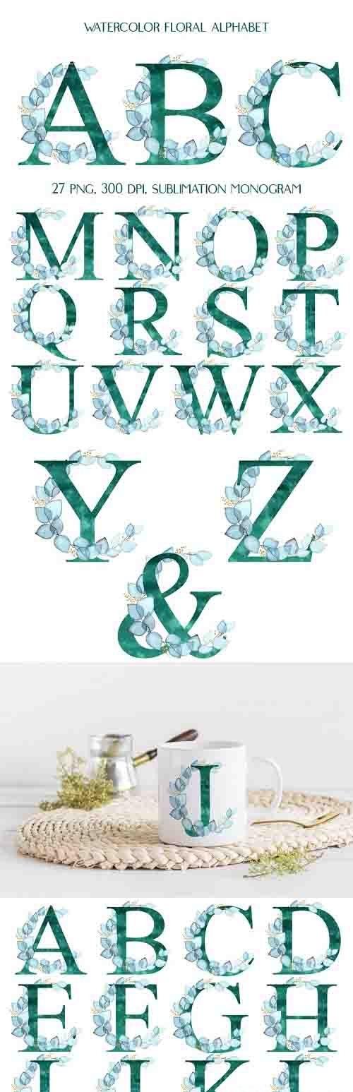 Sublimation Alphabet, Floral Letters Turquoise Eucalyptus - 1230112
