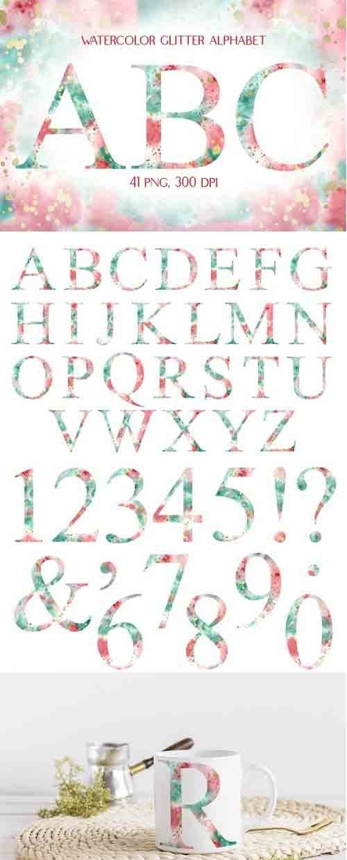 Sublimation Watercolor Multicolored Alphabet with Glitter - 1274607