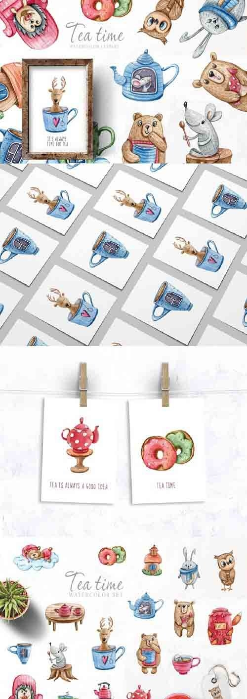 Watercolor cute forest animals clipart. Tea time collection - 682965