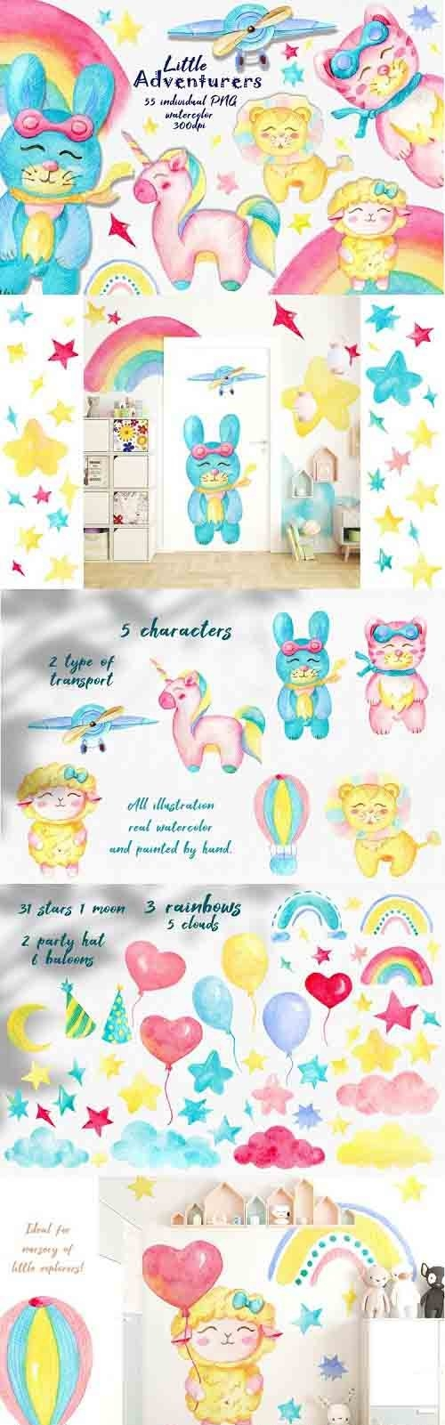 Watercolor kids clipart, Unicorn clipart, Cute Baby animals - 1249287